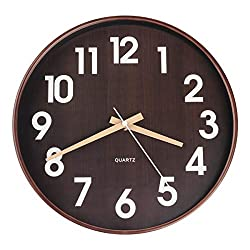 Egundo 12 Inch Silent Plastic Wood Wall Clocks,Quartz Movement Battery Operated Large Number Wall Clock,Round Imitation Wood Grain Clock for Kids Boys Bedroom Kitchen Living Room Home Decor