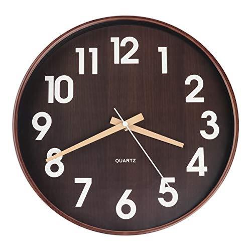 Egundo Wanduhr aus Kunststoff, 30,5 cm, Quarz-Uhrwerk, batteriebetrieben, große Ziffern, runde Holzmaserung, Uhr für Kinder, Jungen, Schlafzimmer, Küche, Wohnzimmer, Heimdekoration