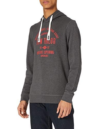 TOM TAILOR Herren Logo-Print Hoodie Sweatshirt, Dark Grey Melange, M