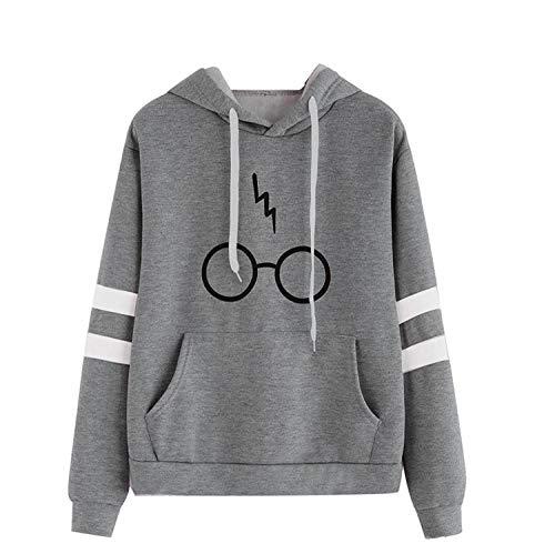 CNBOY Mujeres Camisetas Manga Larga Varsity Gafas de Harry Potter Encapuchado Camisa de Entrenamiento Sudaderas con Capucha Tops (Gris, L)