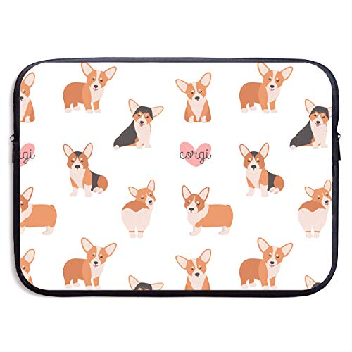 Jomenten Seamless Pattern with Funny Welsh Corgi On White 13/15 Inch Laptop Sleeve Bag for MacBook Air 11 13 15 Pro 13.5 15.4 Portable Zipper Laptop Bag Tablet Bag,Diving Fabric,Waterproof Black