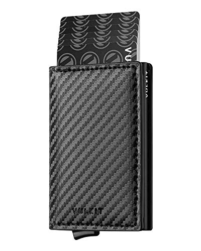 VULKIT Pocket Cartera Tarjetero Hombre Piel Fibra de Carbon con Aluminio Caso RFID Bloqueo Tarjetero Minimalista con 3 Ranuras para Tarjetas y Billetes, Negro