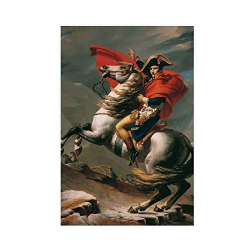 Pittura ad olio Jacques Louis David Napoleon Crossing The Alps Poster su tela da parete Decor Stampa Quadri per soggiorno camera da letto 30 x 45 cm