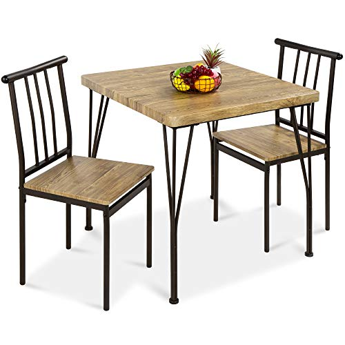 Best Choice Products 3-Piece Dining Set Modern Dining Table Set, Metal and Wood Square Dining Table for Kitchen, Dining Room, Dinette, Breakfast Nook w/ 2 Chairs - Brown