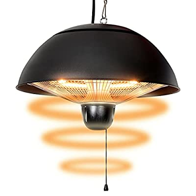 Indoor Electric Patio Heater ,High Quality Black Patio Hanging Heater, 600-1500W Adjustable Ceiling Heater.
