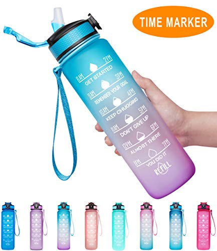 Giotto 32oz Large Leakproof BPA Free Drinking Water Bottle with Time Marker & Straw to Ensure You Drink Enough Water Throughout The Day for Fitness and Outdoor Enthusiasts-Ombre Green Purple