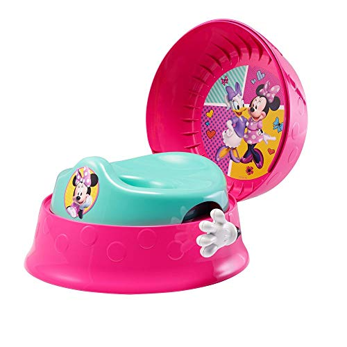 Minnie Mouse 3-in-1 Potty System | Use with Free Share The Smiles App for Unique Encouragement During Training | Scan Stickers for Animated Rewards | Fun Sounds | Easy Clean Design