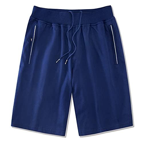 Loveternal Shorts Uomo Pantaloni Sportivi Estivi Short Cotton Zip Pocket Pantaloncini Sportivi da Palestra Uomo Sport Coulisse Nascosta Blu XXL
