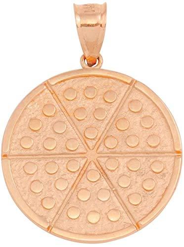MNMXW 9 ct Rose Gold Six Slice Pizza Circle Pendant