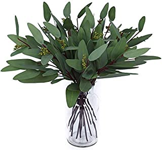 Woooow Artificial Eucalyptus Long Oval Leaf Stem Eucalyptus Spray Artificial Greenery Leaves for Wedding Greenery Holiday ...