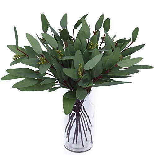 Woooow Artificial Eucalyptus Long Oval Leaf Stem Eucalyptus Spray Artificial Greenery Leaves for Wedding Greenery Holiday Greens Decor(8 Pack)