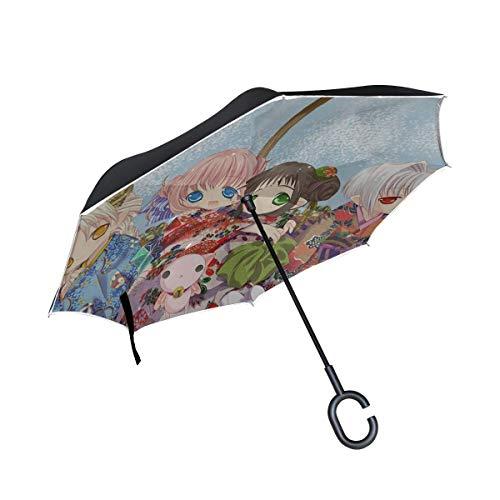 Tokumi Yuiko Oboro Kururu Hororo Sarara Chiriri Ragazze Kimono Gatto Fiori Ombrello rovesciato Doppio strato esterno Pioggia da esterno Ombrello reversibile