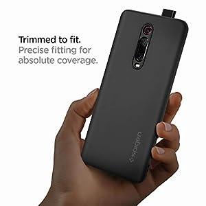 Spigen, Funda para Xiaomi Mi 9T/ Mi 9T Pro [Silicone Fit] Suave, Ultra Delgado, Antirayaduras, Parachoques Reforzado, Anti Huellas Dactilares - [Charcoal]