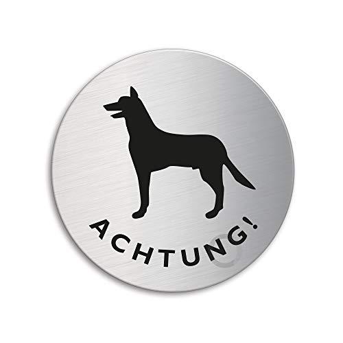 Schild - Achtung Hund | Hundewarnschild | Türschild aus Edelstahl Ø 75 mm selbstklebend | Original Ofform Design Nr.8488