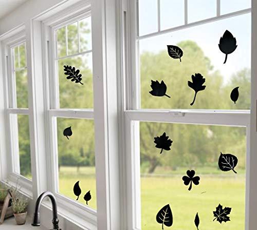 Adhesivos de alerta para ventana, antigolpes, 15 siluetas pequeñas de hojas de árbol para disuadir a los pájaros y evitar que las personas de pájaros en la ventana o vidrio, color negro