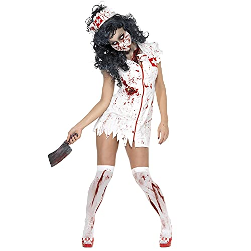 Nileco Fiesta Cosplay Trajes,Mujeres Sangrienta Enfermera Vestido,Vspera de Todos Los Santos Zombie Traje Fantasma Cosplay Vestido-hacia Arriba Miedo Capricho Ropa-Enfermera sangrienta X-Large