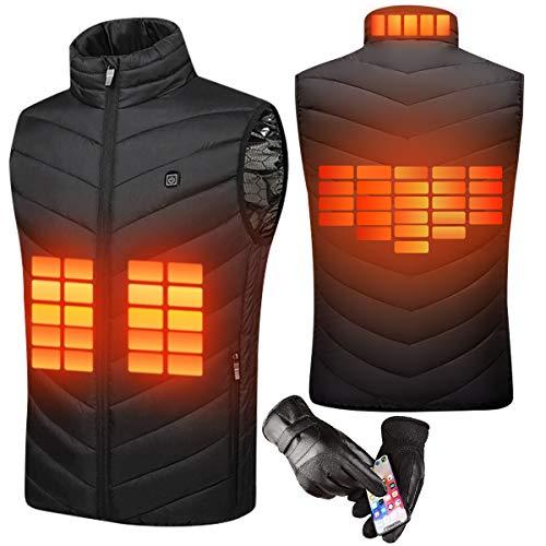 Sholov, gilet riscaldato, riscaldato elettrico, per uomo e donna, abbigliamento riscaldato con USB, con guanti touch screen, per esterni (4XL)