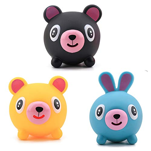 NOA 3 Pack Talking Toys Rubber Squeeze Screaming Animal with Tongue Out Stress Anxiety Relief Cute Rabbit Bear Shape Kids Adults Gift Party Favor Class Prizes Desk Sensory Decoration