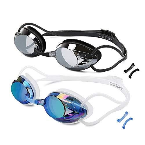 vetoky [2 Stück Schwimmbrillen, Verspiegelt Schwimmbrille Antibeschlag UV Schutz kein Auslaufen für Erwachsene und Kinder ab 10 Jahren …