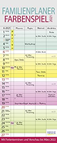 Familienplaner Farbenspiel 2021: Familienkalender für 4 Personen, bunt mit Ferienterminen, Vorschau bis März 2022 und nützlichen Zusatzinformationen.