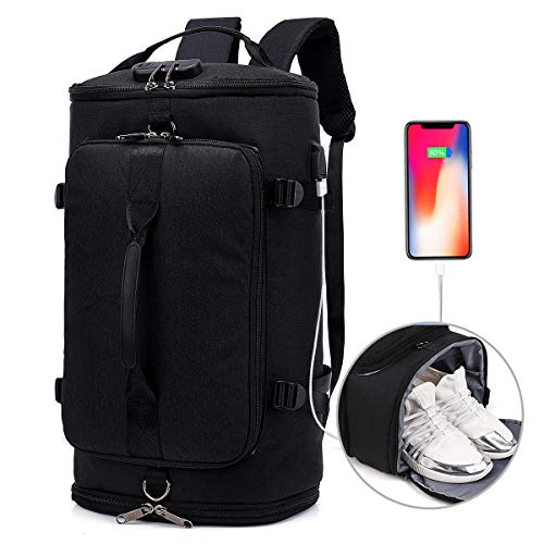 Travel Backpack,Duffel Outdoor Backpack with Shoe Compartment,Anti Theft College Laptop Bookbag w/USB Charging Weekender Bag Water Proof Hiking Camping Rucksack for Men and Women