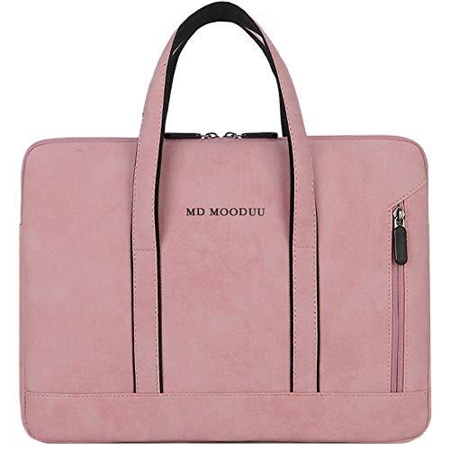 MD MOODUU Laptop Bag Handbag PU Waterproof Scratch-Resistant Laptop Briefcase 13 14 15 inch Notebook Shoulder Bag Carry Case Women and Men