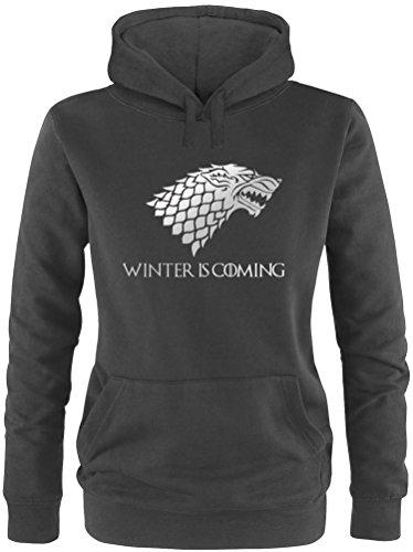 Ezyshirt – Sudadera con capucha de Juego de Tronos, «Winter is coming» negro, plateado S