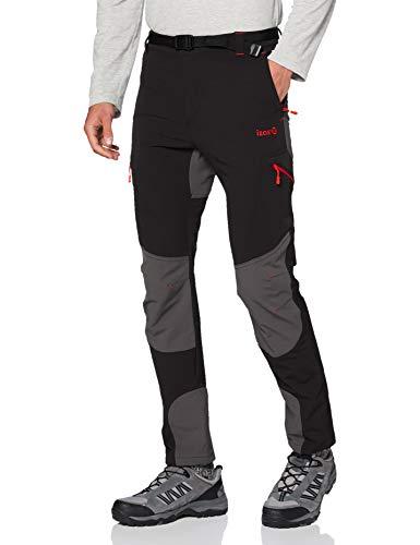IZAS ESBEN Pantalon de Trekking Homme, Noir/Gris Foncé/Rouge, FR : M (Taille Fabricant : M)