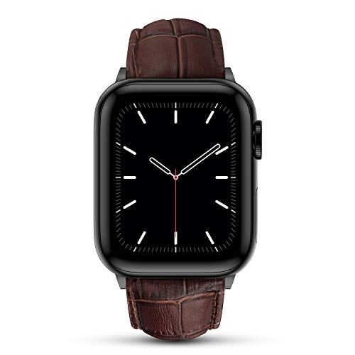 Marge Plus Compatible with Apple Watch Band 44mm 42mm 40mm 38mm, Genuine Leather Replacement Band for iWatch Series 6 5 4 3 2 1, SE (Dark Brown/Black, 44mm/42mm)