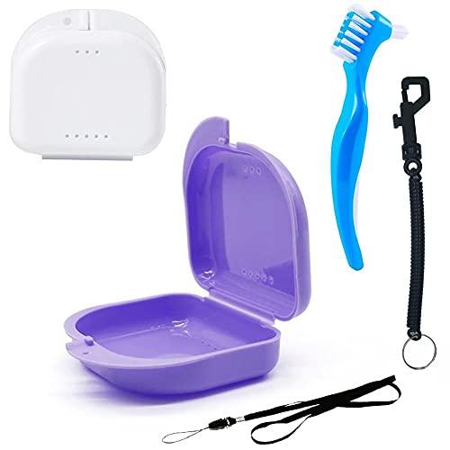 Caja para Ortodoncia con Accesorios de Limpieza y seguridad, Kit completo | estuche Antibacteriano grado Alimentario, Transpirable | para Retenedor, Dentadura postiza, Aparato dental (Lila+Blanco)