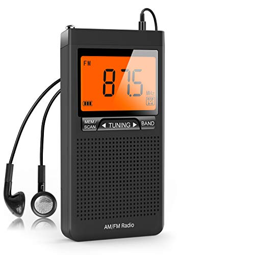 Greadio Portable Pocket Radio, Transistor AM FM Radio with Best Reception, LCD Display, Alarm Clock, Earphone Jack, Battery Operated Radio for Home, Jogging, Walking, Camping and Traveling