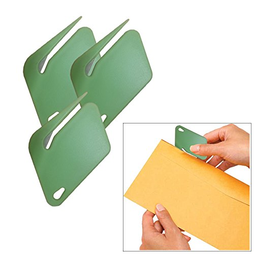Plastic Letter Opener Envelope Slitter With Concealed Steel Blade  Green  3 Pack By Mega Stationer