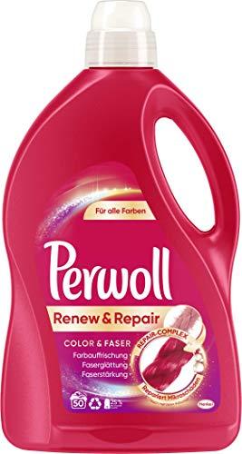 Perwoll Renew & Repair Color & Faser, Feinwaschmittel, 50 (1 x 50) Waschladungen, für alle Farben