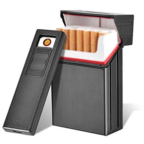 Bias&Belief Estuche para Cigarrillos con Encendedor Porta Cigarrillos De Aluminio con Cierre Magnético Cigarrillo 2 En 1 Encendedor Eléctrico Recargable Sin Llama A Prueba De Viento