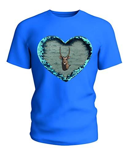 Camiseta reversible con lentejuelas de búfalo galopando orgulloso África salvaje libertad selva...