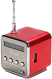 SODIAL Multifunction Fm Radio Tdv26 Portable Micro-USB Speakers Radio Mobile Phone Vibration Computer Music Player Rechargeable(Red)