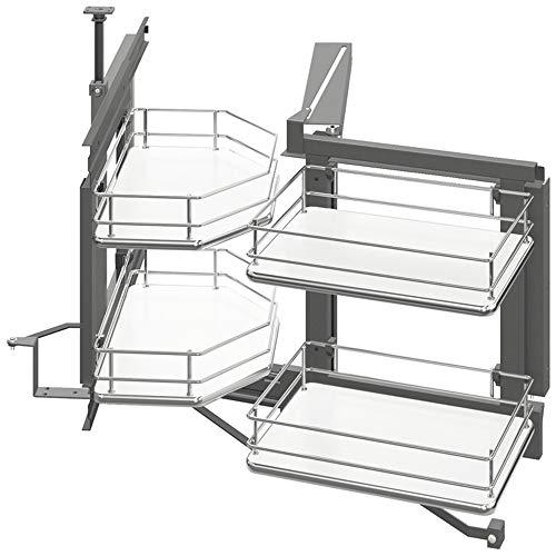 Gedotec Vridbar montering köksskåp svängbar montering med hyllor för hörnskåp skivspelare för under skåp 900 x 495 mm svängbar vänster 1 komplett set med hängande träkorg vit