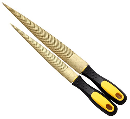 NKTM 8' and 10' Golden Tapered Wood Rasp Bastard File with Rubber Handle in Gift Bag for Carving 2 Pack