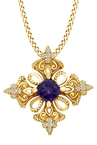 AFFY Princess Simulated Alexandrite & Spakling White Cubic Zirconia Irish Celtic Cross Pendant Necklace 14k Yellow Gold Over Sterling Silver with 18' Chain