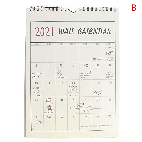 love lamp Calendario Pared 1pc 2021 Wall Calendar Agenieza Organizador de la Oficina Inicio Calendario de Pared 2021 (Color : B)