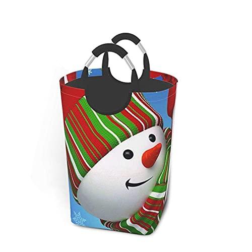 VLKFK Cesta de lavandería de 50L Smile Gaze Cesta de lavandería de muñeco de Nieve Bolsa de Ropa Sucia con Asas Papelera de Lavado