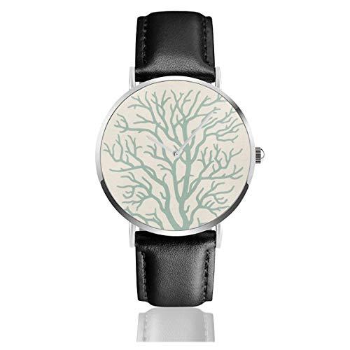 Relojes de Pulsera de Cuarzo analógico con diseño de árbol de Coral y Esfera Verde Marina, Correa de Piel sintética y Elegante Carcasa Plateada para Mujer