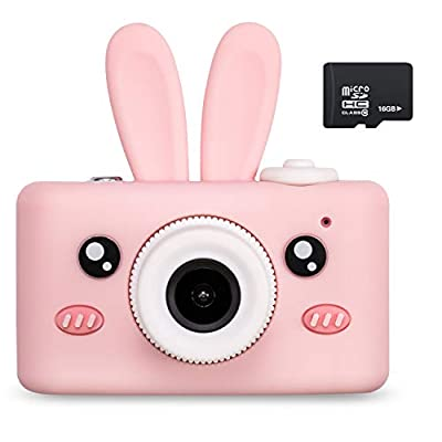 Abdtech Kids Camera Toys for 4-8 Year Old Girls, Rechargeable Children Digital Cameras with Rabbit Cover for Girl Boys Shockproof 8MP Mini Cam with 16G SD Card Best Idea Birthday Party Gift (Pink) by Abdtech
