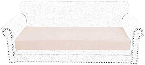Mirui Sofá Cubiertas de la Silla cojín del Asiento de poliéster elástico Spandex Sofá Sofá Cubiertas del resbalón del Protector del hogar del reemplazo Sala 2 plazas (Color : 2 Seater Beige)