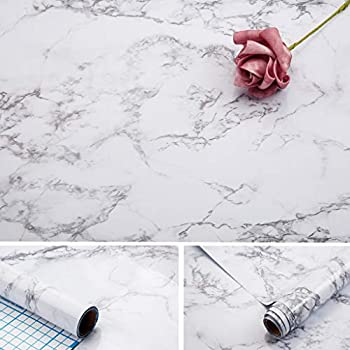 Arthome Marble Paper,17x100 inch Self Adhesive Wallpaper Waterproof Gloss PVC Vinyl Oil Proof,White/Gray Granite Paper,Marble Vinyl Paper for Furniture Cover Surface,Countertop,Kitchen,Shelf Liner