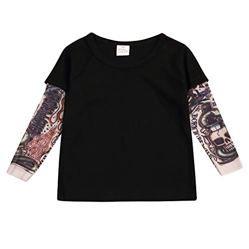 Noubeau Toddler Unisex Baby Kids Clothes Cotton T-Shirt Sunscreen with Mesh Tattoo Long Sleeve Tops (Black1, 3T-4T)