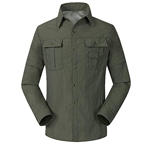 N\P Verano al aire libre senderismo secado rápido respirable desmontable camisas militares