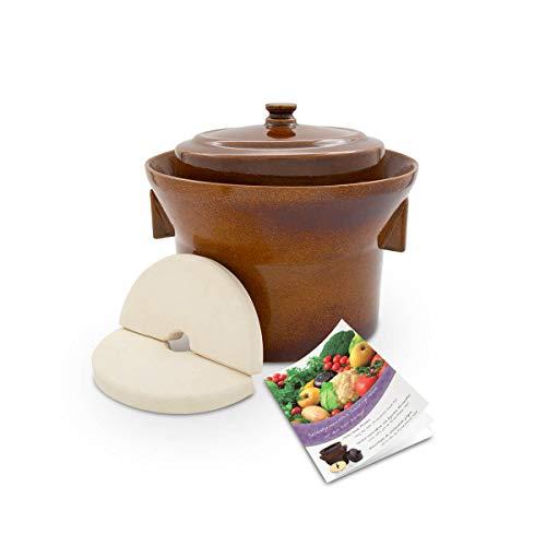 K&K Premium Gärtopf [Form 1] - 5.0 Liter aus hochwertiger Steinzeug Keramik inkl. Deckel und Stein - 15mm Wandstärke