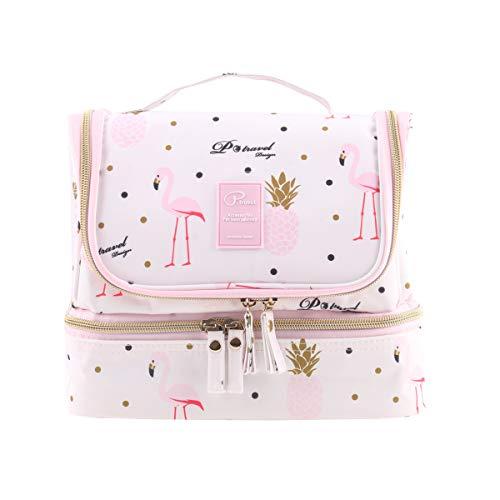 Tuscall Kulturbeutel zum aufhängen Kulturtasche für Damen - Waschbeutel Kosmetiktasche mit Haken für Reisen, Urlaub, Outdoor (Pink Flamingo)