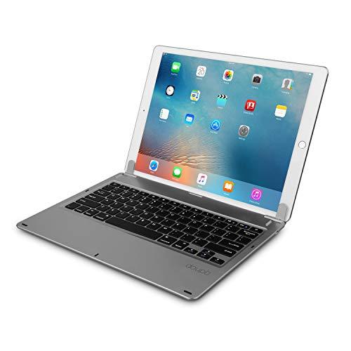 doupi Drahtlose Tastatur für iPad Pro 12,9 Zoll (2015/2017), Bluetooth Keyboard Multi-Funktion Taste mit Verstellbarer Beleuchtung aufstellbar klappbar wie EIN MacBook, Deutsch Layout, Space grau